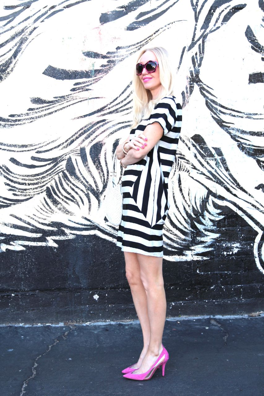 vero moda striped dress asos spring sale guess pink pumps oversized sunglasses