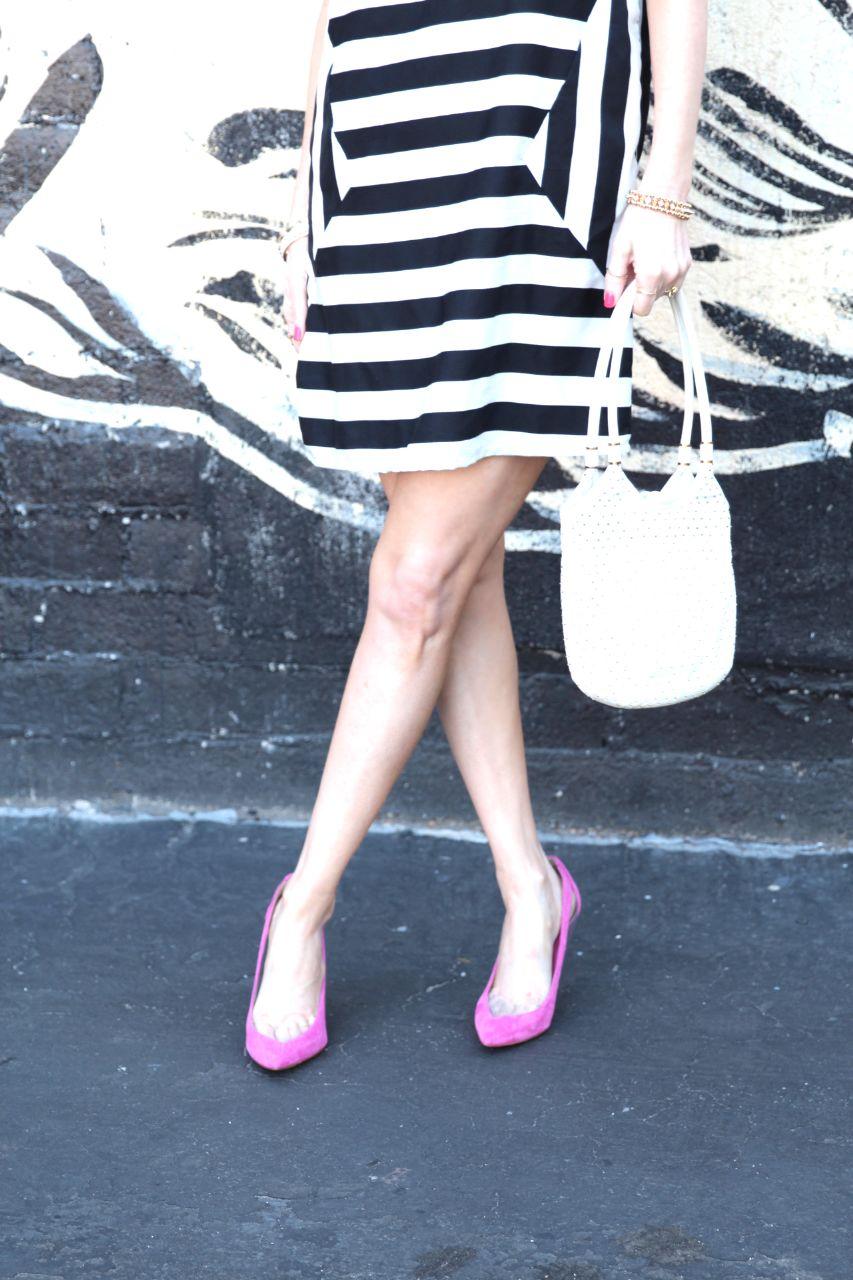 pink guess japeen pumps vero moda asos spring dress stripes