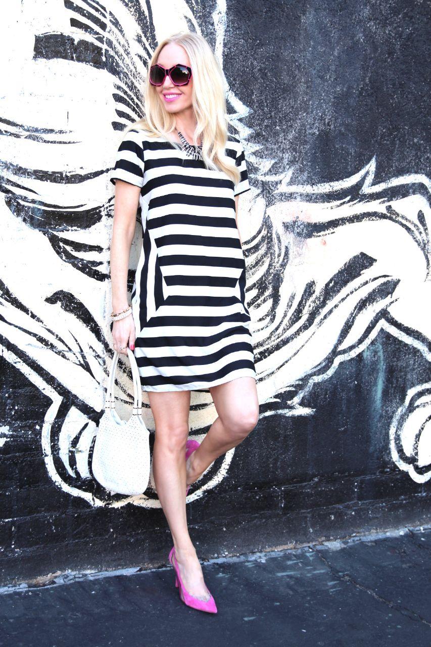 vero moda stripe dress asos pink guess heels judith leiber bag