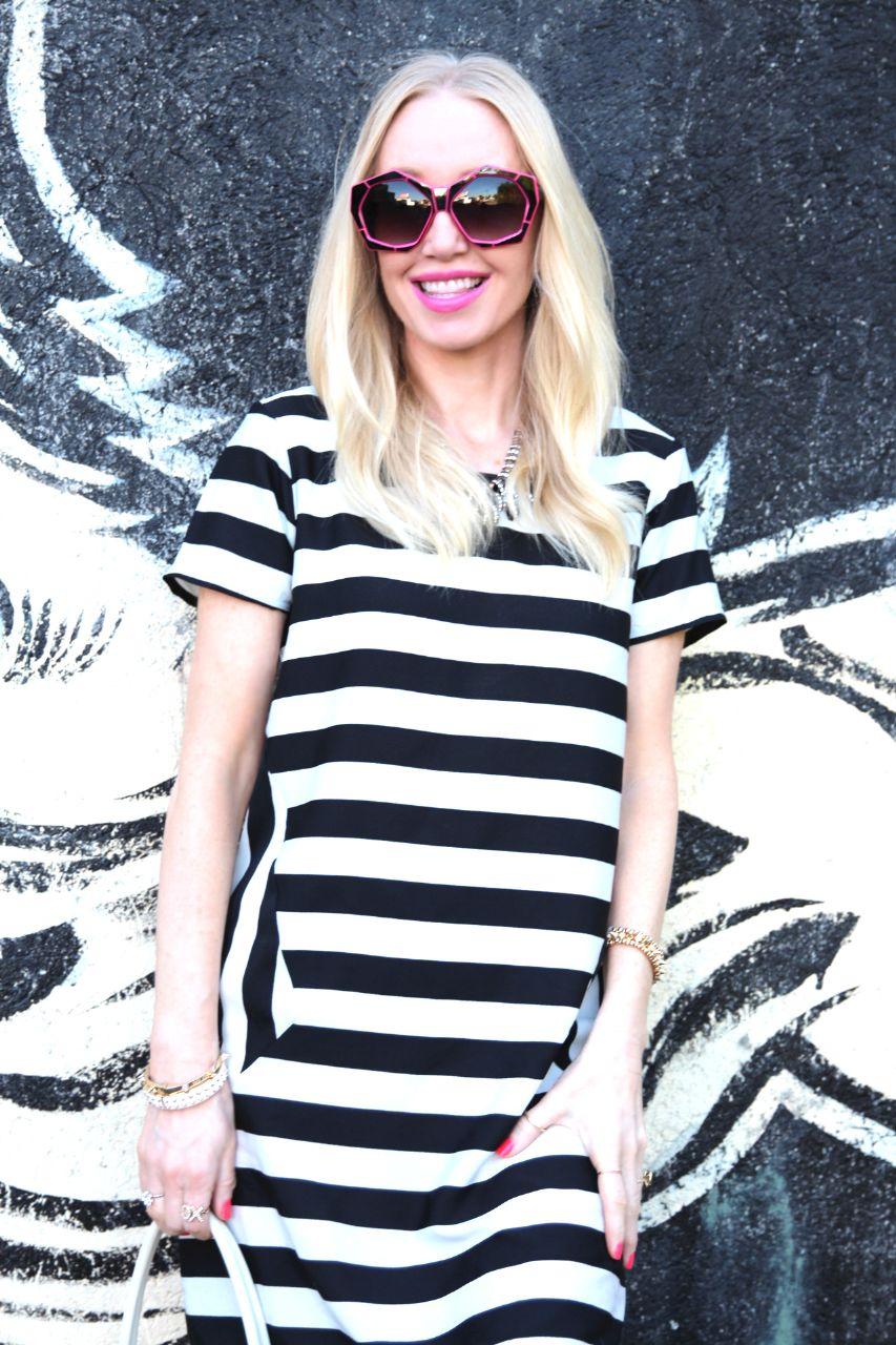 asos spring dress stripes pink sunglasses