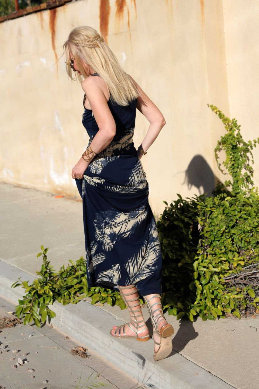 currently crushing, swell.com palm print maxi dress, stuart weitzman gladiator, wildfox lolita heart sunglasses