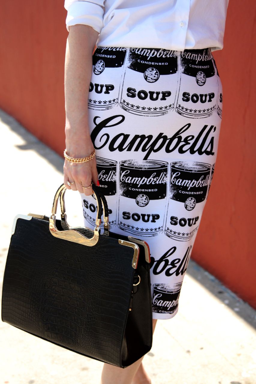 currently crushing, campbell's soup skirt, vanlaced avenue bag