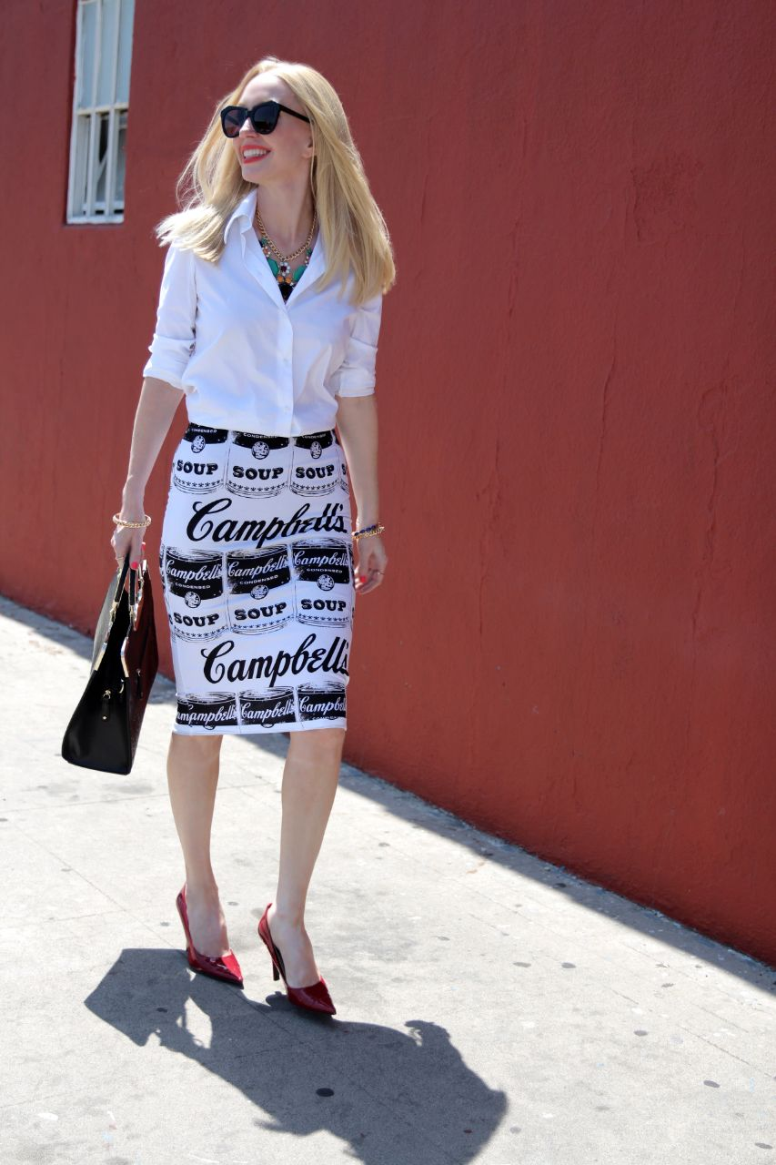currently crushing, campbell's soup skirt, vanlaced avenue bag, prima donna necklace, karen walker super duper sunglasses