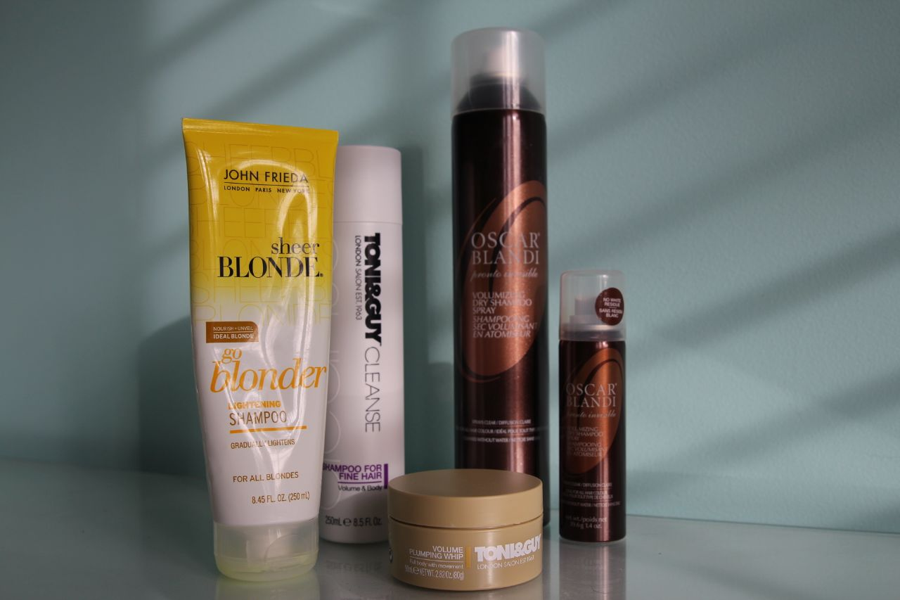 currently crushing, john frieda blonde shampoo, oscar blandi dry shampoo, toni&guy volume whip