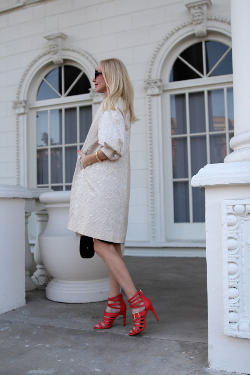 currently crushing, vintage dress coat, sole society mikaela hot coral caged heels