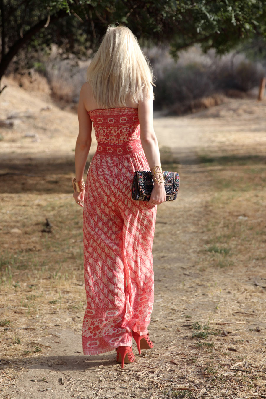 currently crushing, free people smocked jumpsuit, ecote mirrored clutch