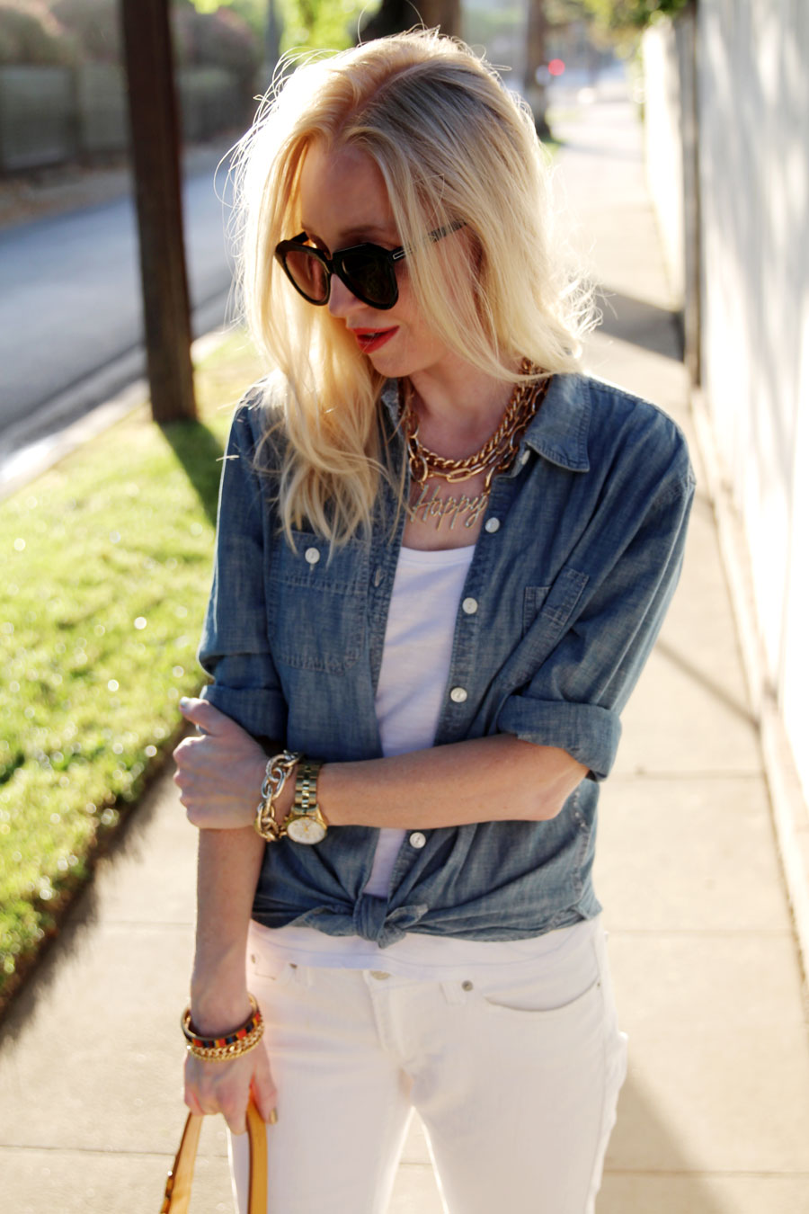 currently crushing, j crew chambray, timex watch, levis white denim