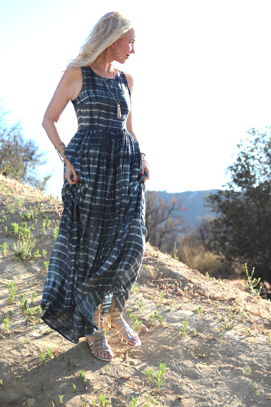 currently crushing, shibori maxi dres, james coviello, anthropologie