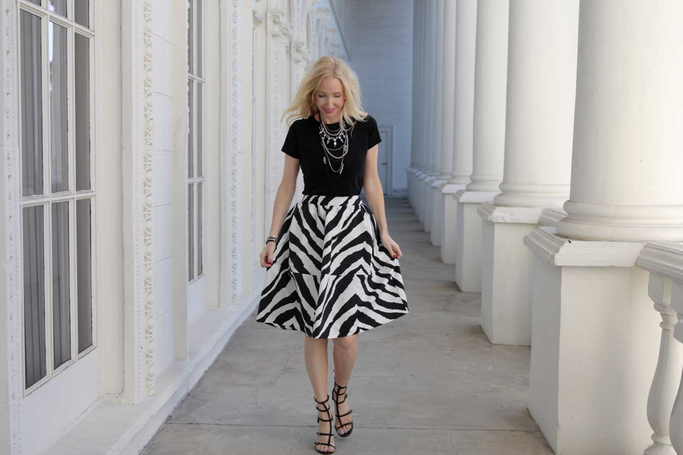 currently crushing, express zebra midi skirt