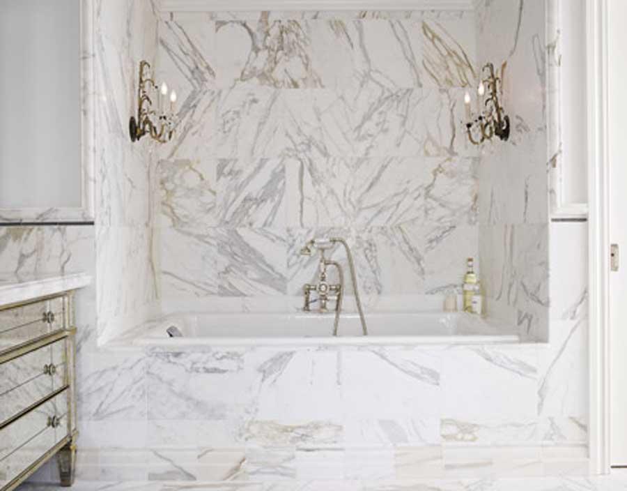 currently crushing, white carrera marble bath