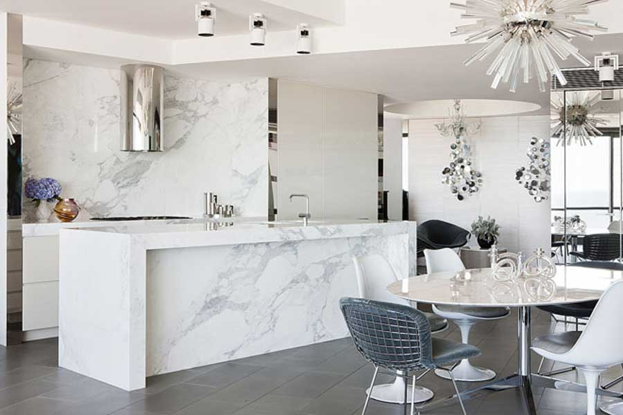 currently crushing, white carrera marble kitchen