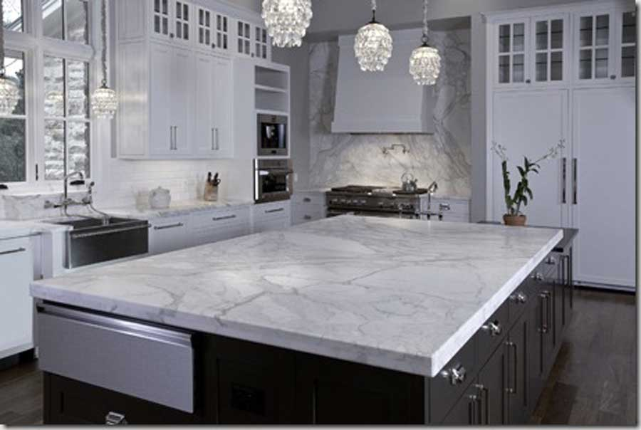 White Carrera marble for the kitchen and bathroom  Currently Crushing