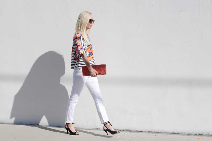 ysl, ankle tie heels, currently crushing, clover canyon floral discs top, jordache white jeans, brahmin clutch