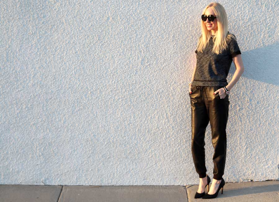 currently crushing, piperlime collection embellished french terry top, leather sweatpants, jessica simpson claudette heels