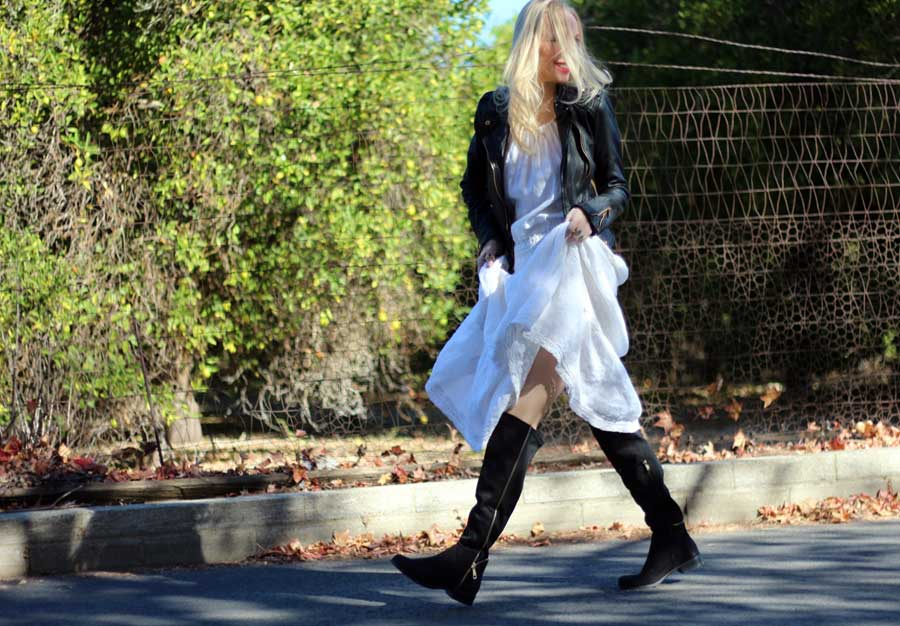 currently crushing, nyla over the knee zipper boots, zara black moto jacket,