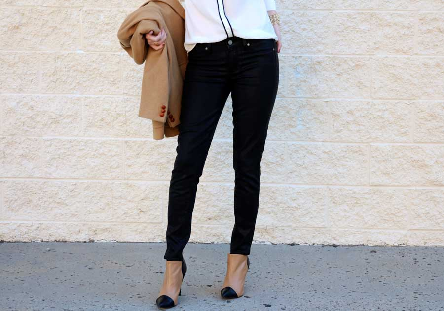 currently crushing, paige skinny black coated denim, express portofino shirt, sea of shoes jane bootie, vintage camel blazer