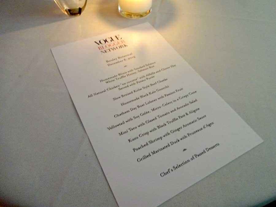Vogue blogger network dinner