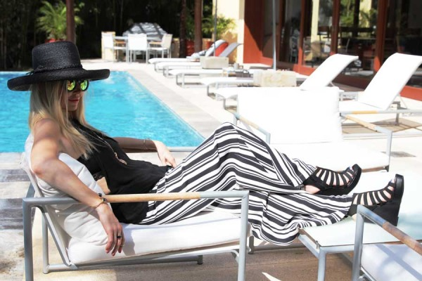 Currently Crushing, Ella Moss striped pants, eric javitz black straw hat, puerto vallarta style