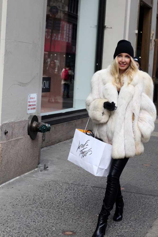 fashionable white fur coat