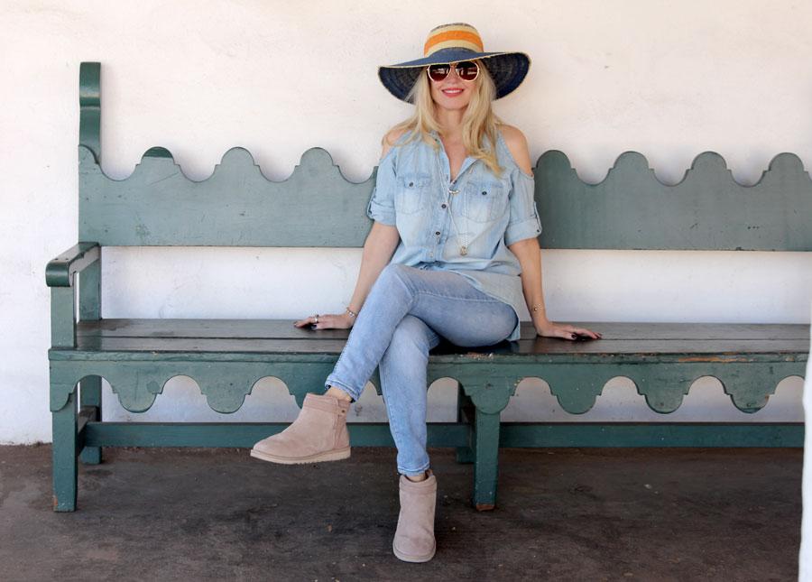 Sabo Skirt denim top, DSTLD skinny jeans, dynamic asia hat, ugg australia Rella boot, Pandora jewelry