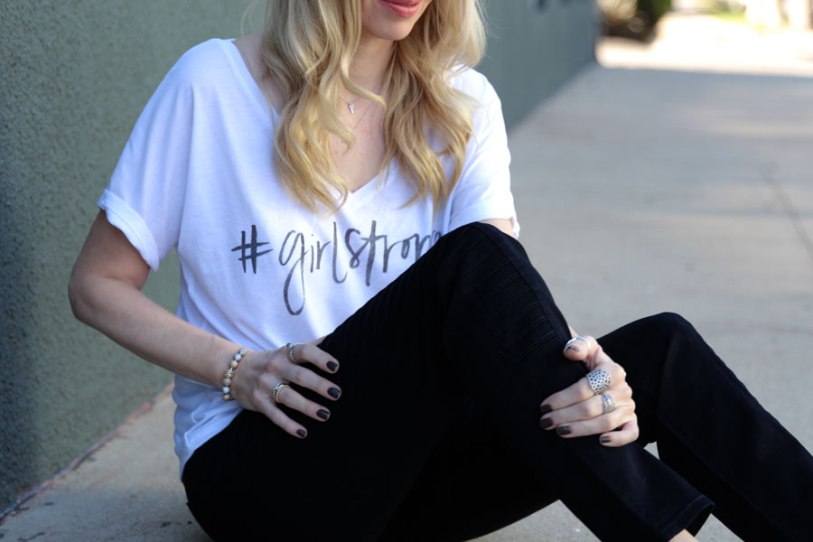 #GIRLSTRONG, kut from the kloth mia skinny jeans, no such pr, rocket dot white slip ons, pandora jewelry