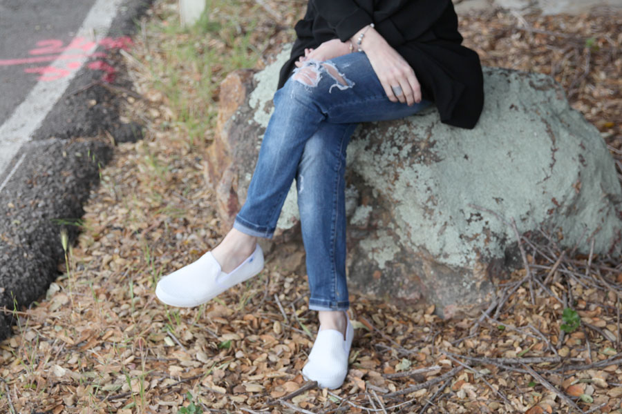 Riot Happy Camper tee, rocketdog white slipons, zara destroyed skinny jeans, pandora jewelry