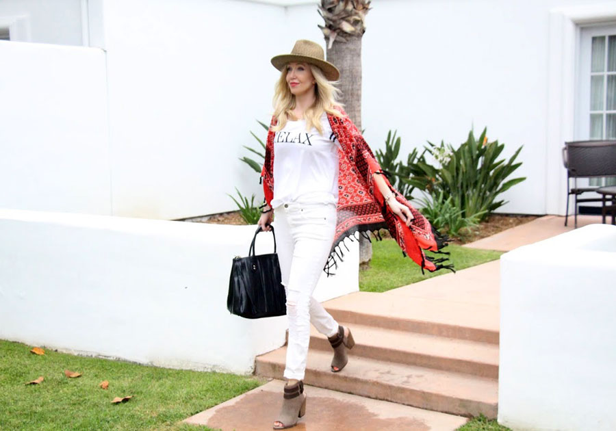 currently crushing, chaser brand relax tee, free people kimono, dynamic asia hat, pandora jewelrlly, justfab online booties, justfab fringe bag, #bayclubhappy