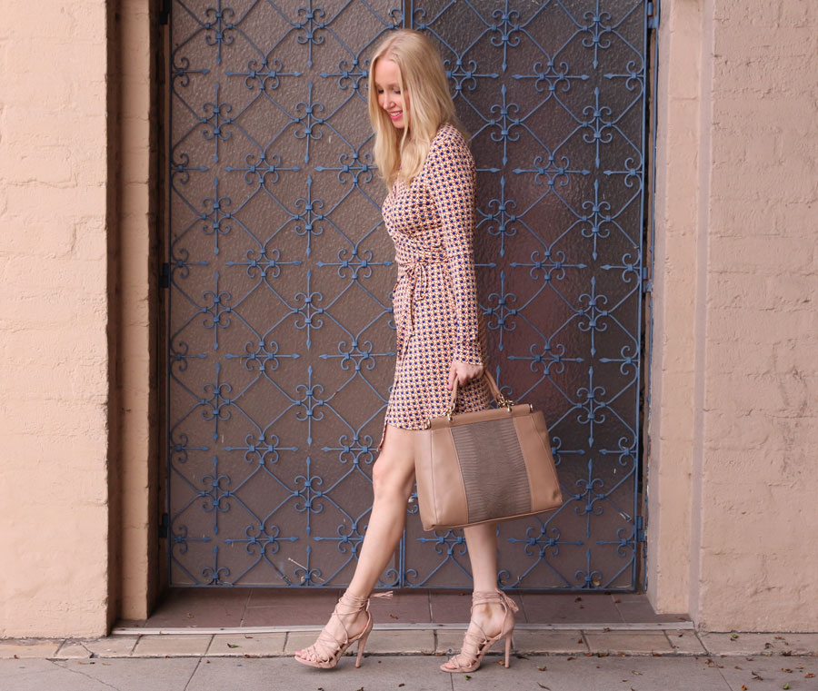 currently crushing, just fab online wrap dress, just fab online heels, just fab online bag
