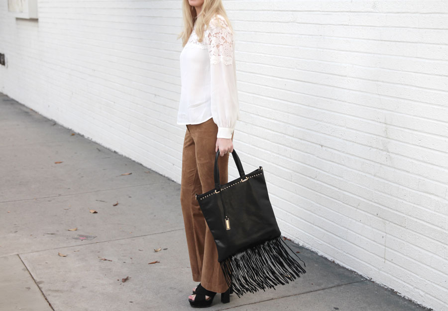 currently crushing, h&M fall collection, h&m suede pants, h&m lace blouse, urban originals fringe bag, nordstrom