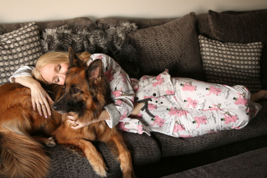 currently crushing, pj salvage flannel pajamas, stick with me sweet bonbons, elke the long haired german shepherd