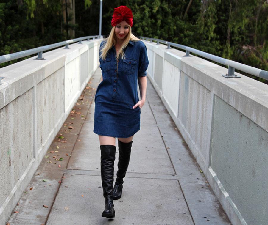 Topshop denim shirtdress, stuart weitzman 50 50 boots, nordstrom fall style, kitsch turban, gorjana layered necklaces