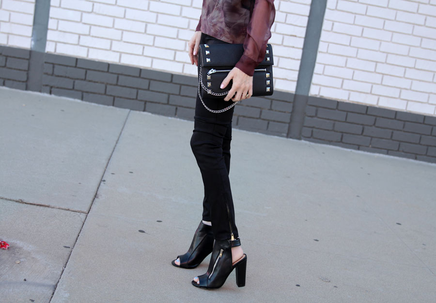 currently crushing, strom denim, justfab heels, studded clutch, lionette ny earrings, my perfect T UK,
