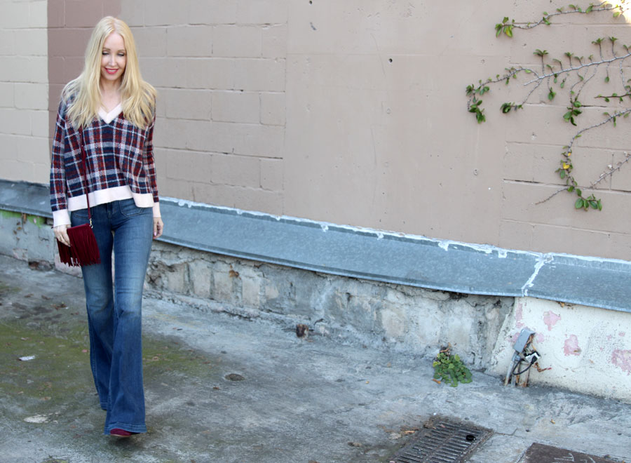 currently crushing, j brand demi flares ashbury, banana republic plaid sweater, sole society booties,