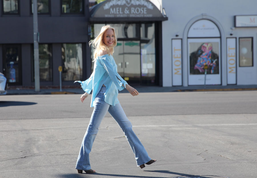 currently crushing, sheinside blouse, hidden jeans, justbab booties