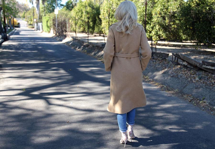 currently crushing, camel coat, steve madden slithur heels, vintage 501s, h&m white lace blouse, gigi new york clutch