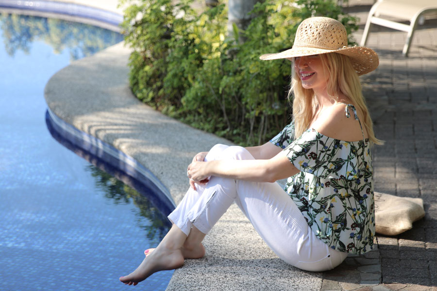 topshop nordstrom cold shoulder blouse, white denim skinny jeans, peter grimm straw hat Boheme, los suenos resort costa rica, currently crushing