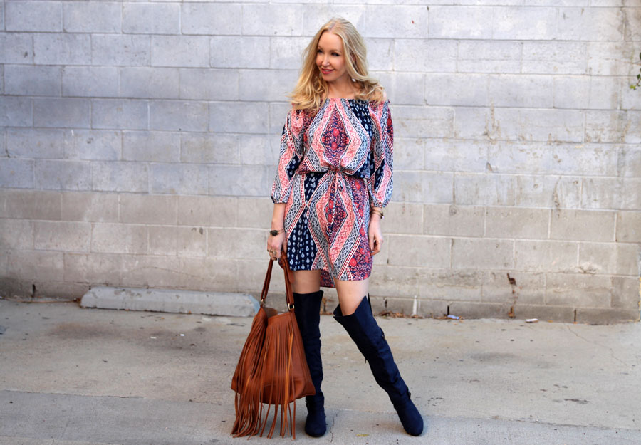 justfab over the knee boots, almost famous dress, justfab fringe shoulder bag, currently crushing