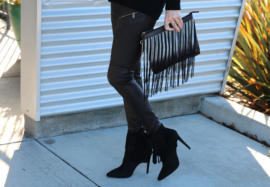 currently crushing, express runway, justfab online black fringe clutch, black fringe booties just fab, pandora jewelry, forever 21 sunglasses