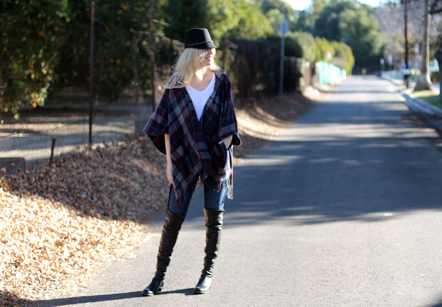 dynamic asia cap, plaid forever 21 cape, stuart weitzman 50/50 boots, Tommy Hilfiger jeans, currently crushing