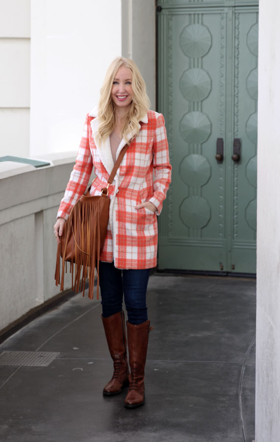 currently crushing, lucy paris plaid shearling coat, justfab fringe bag, Clarks boots, express jeans