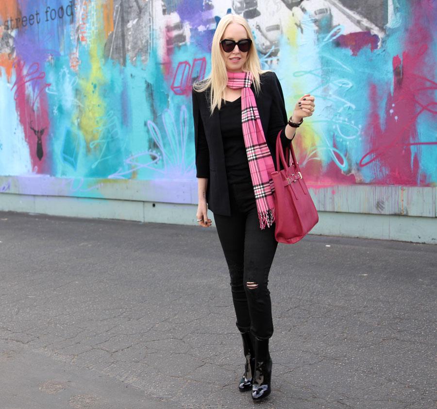 Daniel Wellington watch, scarves.net, hudson barbara skinny jeans, lulus cape blazer, karen walker sunglasses, justfab pink purse, chanel boots