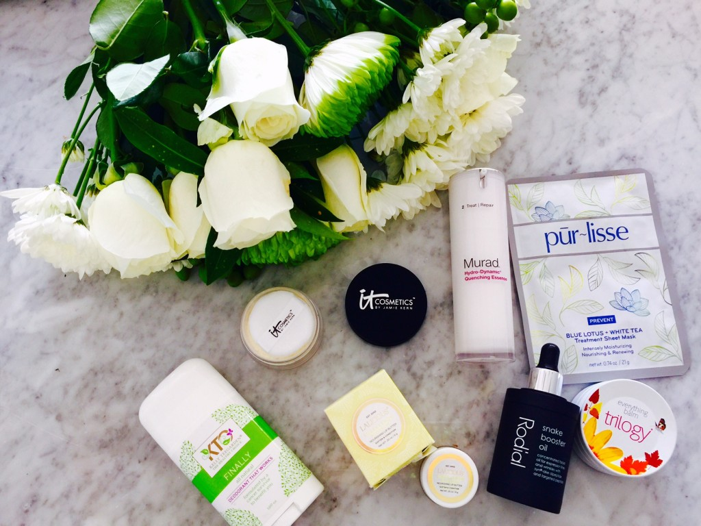 currently crushing beauty, dr murad, purlisse, kelly teegarden organics, lalicious, rodial snake oil, trilogy usa balm, it cosmetics finishing powder