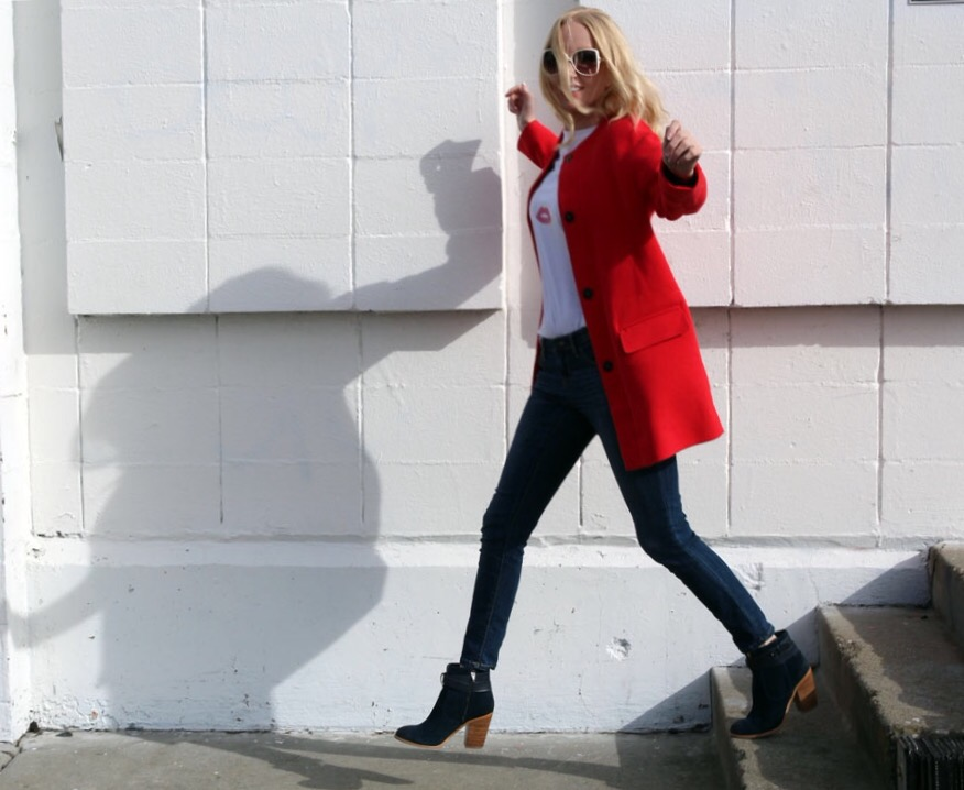 currently crushing, sole society booties, mossimo jeans, target, eyelash tee shirt, zara red coat, vintage sunglasses