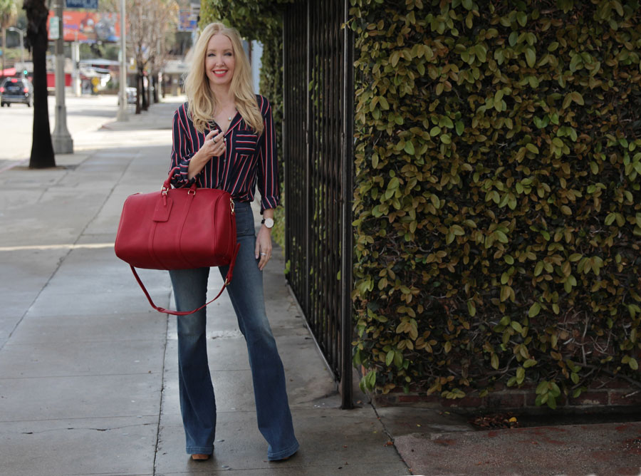 sole society bag, j brand high waist jeans, daniel wellington watch, forever 21 striped blouse