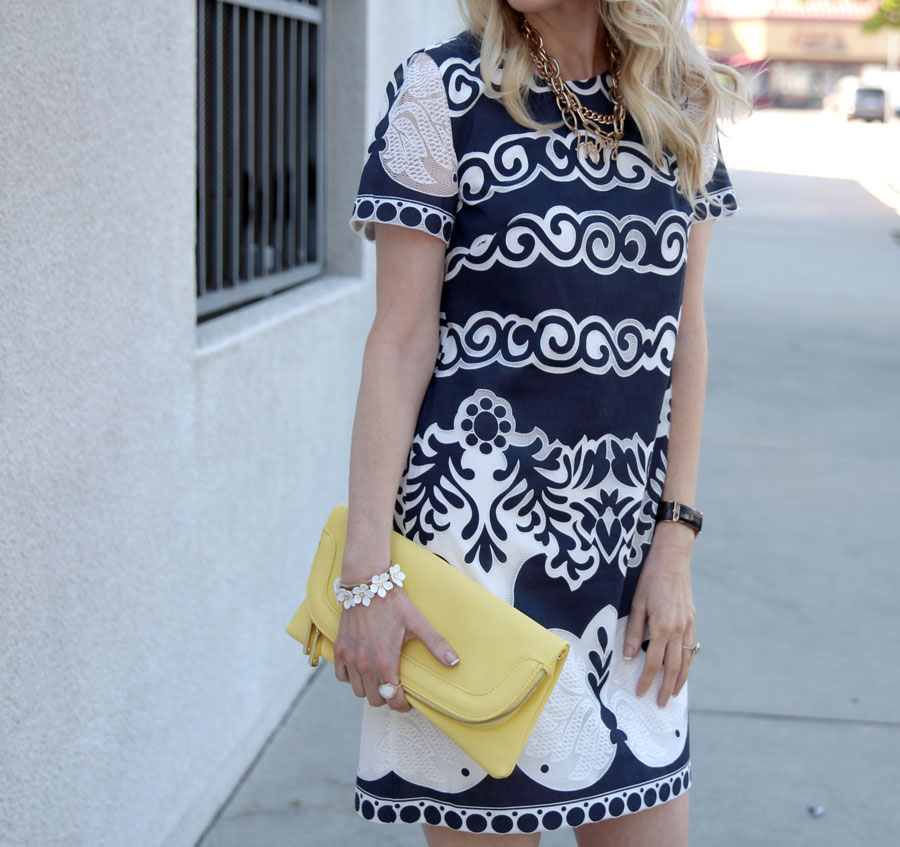 currently crushing, jcrew lace dress, spring style, shoedazzle denim heels, charming charlie clutch,