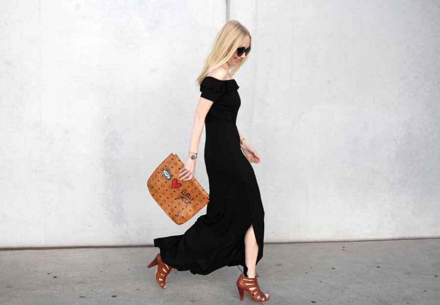 currently crushing, asos maxi dress, spring fashion, mcm soho portfolio clutch, bcbg lace up sandals,