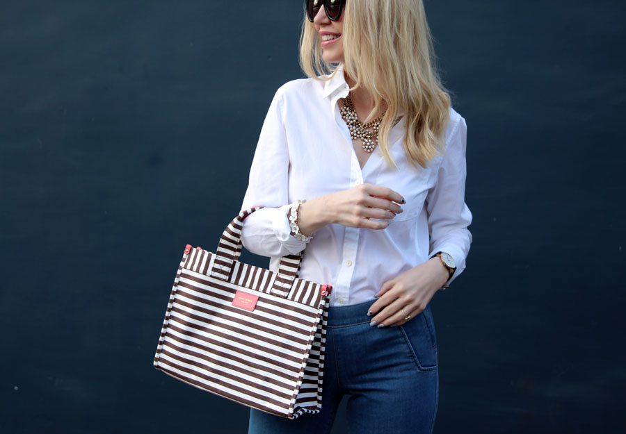 currently crushing, henri bendel stripe tote, banana republic white blouse, perverse sunglasses, express wide leg flares