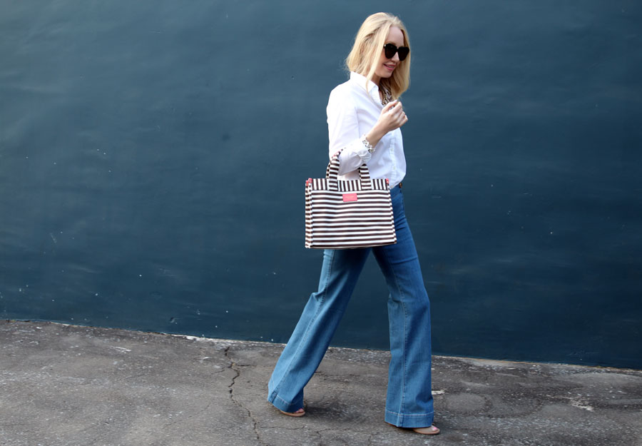 currently crushing, henri bendel stripe tote, banana republic white blouse, perverse sunglasses, express wide leg flares, charming charlie flower bracelet