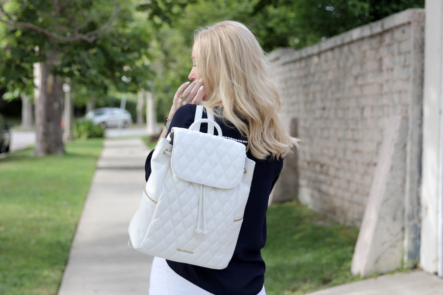 currently crushing, vera bradley quilted amy backpack, white leather backpack, vera bradley quilted bag
