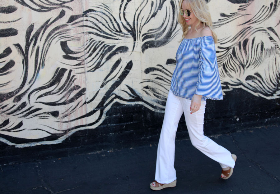 currently crushing, shein.com, cutest off the shoulder blouse, striped off the shoulder blouse, quay australia sunglasses, mirrored aviators, nordstrom sale, best white jeans, sole society flatforms